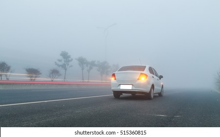 car in the fog