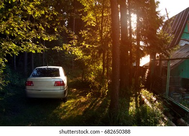 A car in the forest in the background of a summer cottage