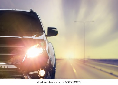 Car front lighting.on the road