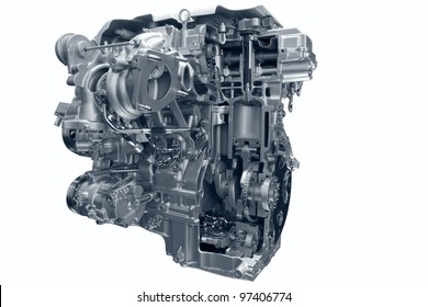 Car gas engine. Crosscut of modern car engine concept isolated on white background.
