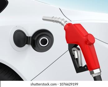 Car and Gas Pump Nozzle. 3D rendering