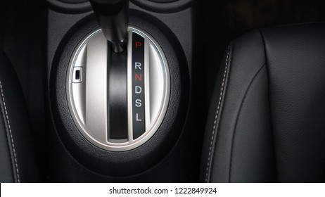 Car gear stick on parking mode, Mechanism of switching modes of automatic transmission car, Top view