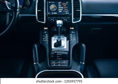 Car gearbox knob in modern suv car