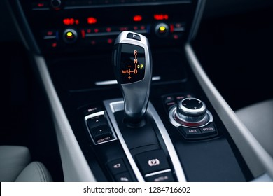 Car gearbox shift handle stick in parking position