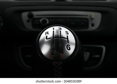 Car gearshift knob. Six-speed transmission.