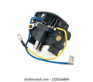 Car generator voltage regulator relay on white background