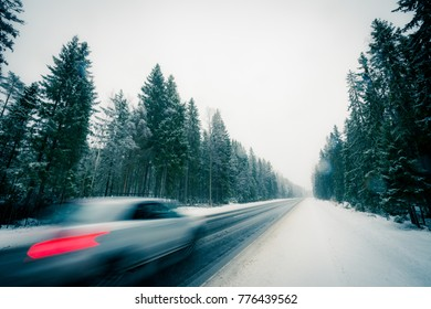The car goes along the winter road during the snowfall passing through the spruce forest. View from the side of the road, image in the blue toning