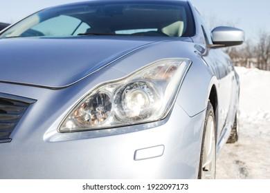 car headlight close up, beautiful car design