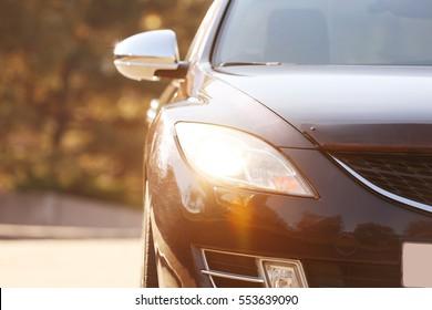 Car headlight, closeup