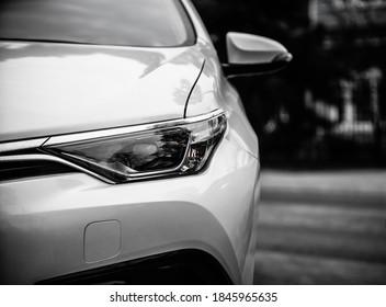 Car headlights. Exterior closeup detail. Car detail - Shutterstock ID 1845965635