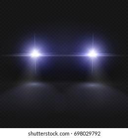 Car headlights. Headlamp glowing effect isolated on transpatent plaid background. Headlight in dark night, illustration of vehicle headlight front