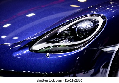 Car Headlights Look Stylish Car Interior Chassis And Stripes Around The Car The Components Look