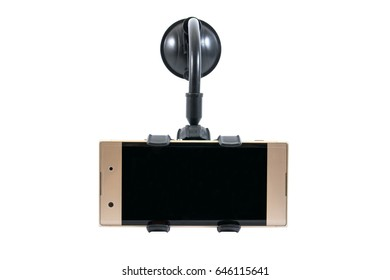 Car holder for mobile phone device with gold mobile phone isolated on white background