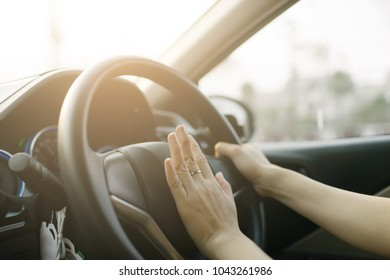 Car horn and  . Beep the horn on emergency accident on road