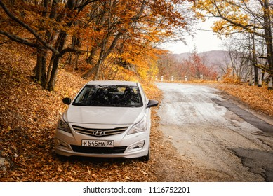 The car Hyundai Solaris (Accent) is parked in nature. Grand Canyon, the Republic of Crimea. 2016-10-27