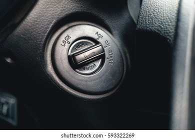Car ignition close up. Car Interior, engine start stop key switcher
