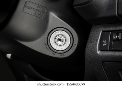 Car ignition keyhole  start - stop engine
