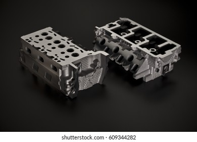 Car industry. Two Metal parts of cast iron