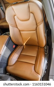 Car inside driver place. Interior of prestige modern car. Front seat  in modern comfortable car.