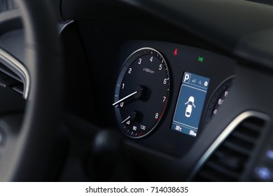 Car inside driver place. Interior of prestige modern car. Steering wheel, dashboard. gorgeous background with place for text