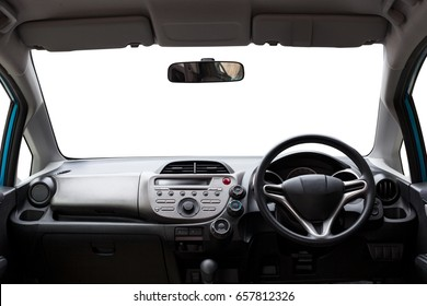 Car inside, Interior of modern car isolated white background