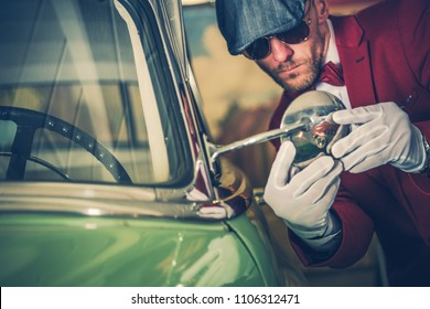 Car Inspection Before Buy. Elegant Classic Cars Collector Making Detailed inspection of the Retro Vehicle. Checking Outside Mirror Adjustment. Automotive Industry.