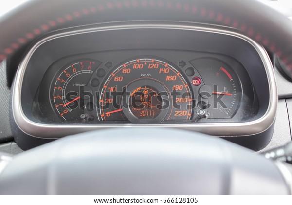 Car Instrument Panel Dashboard Closeup Visible Stock Photo (Edit Now
