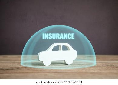 Car insurance. Car under the protective cap bubble, hemisphere