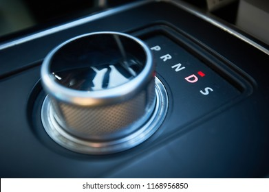 Car interior. Automatic transmission turn dial gear shift. round shape.