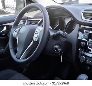 Car interior. Dashboard.