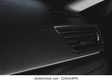car interior detail airbag panel and air conditioning system