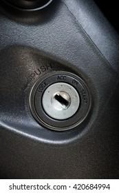 Car interior details of keyhole