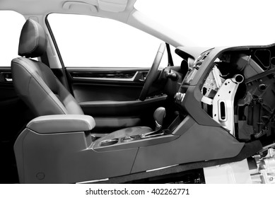 Car Interior Driver Section View with clipping path. Modern Car Interior Design.