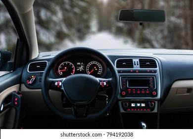 Car interior front dashboard