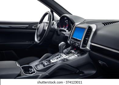 Car interior luxury dashboard & steering wheel