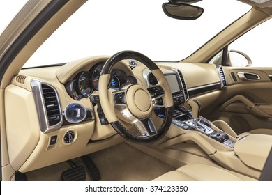 Car interior luxury steering wheel with wood & metal decoration