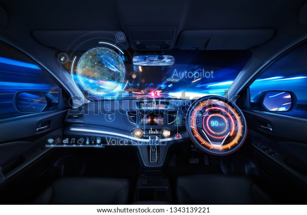 Car interior with Self driving , Auto pilot and internet of thin  futuristic 