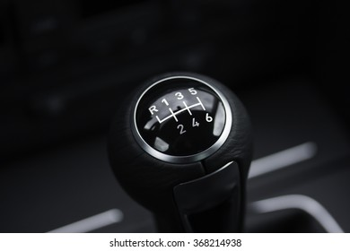 car interior - six speed manual gear shift with reverse (leather with chrome finish)