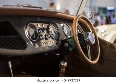 car Interior - steering wheel, shift lever and dashboard