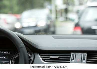 Car interior and traffic.