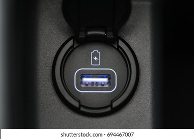 Car interior, car usb charger detail