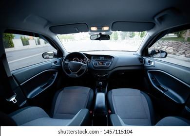 car interior wide angle view