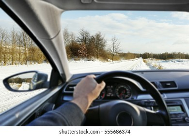 car interior and winter road