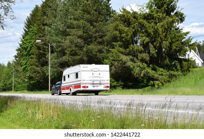 Car with Kabe sign on caravan on the road - road trip and vacation - sunny and summer season - Kongsvinger, Norway (11th june 2019)