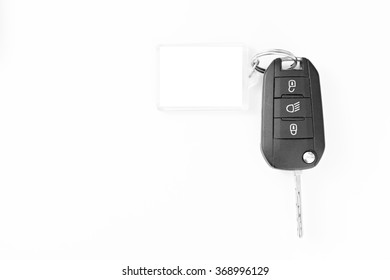 Car key with key blank for notes
