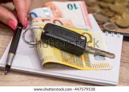 Car Key Euro On Desk Stock Photo Edit Now 447579538 Shutterstock