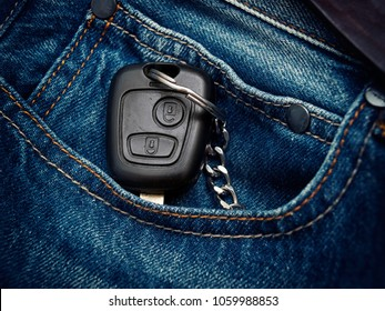 Car key in the jeans pocket.