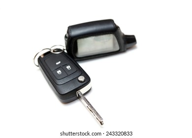 Car key with a keychain alarm. Isolated on white background. transport concept. gift concept