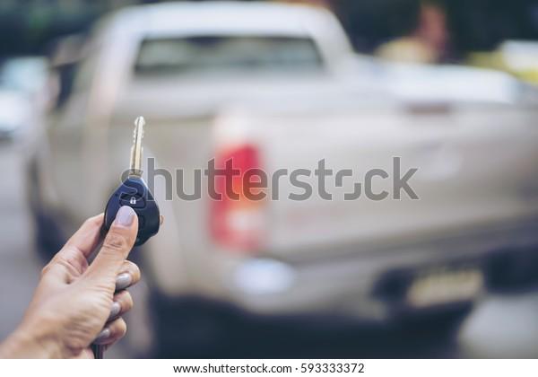 Car Key Lock Woman Hand Presses Stock Photo Edit Now 593333372