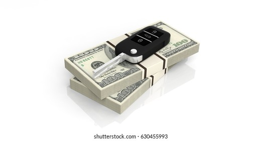 Car key on one hundred dollars banknotes isolated on white background. 3d illustration
